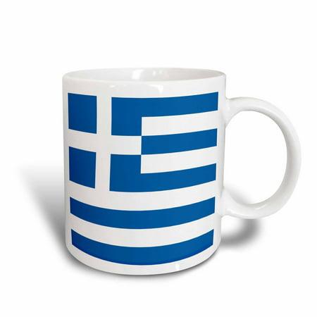 3dRose Flag of Greece - Greek sky blue white stripes with cross Mediterranean Europe world country souvenir, Ceramic Mug, 15-ounce