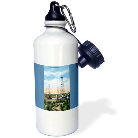 3Drose Typical Oklahoma Oil Field With Oil Wells Across The Landscape  Sports Water Bottle  21Oz