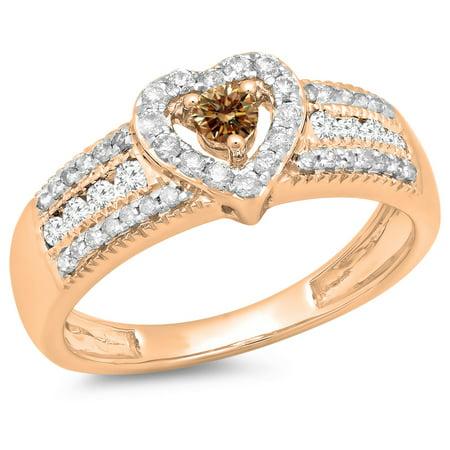 0.55 Carat (ctw) 10K Rose Gold Round Cut Champagne & White Diamond Ladies Bridal Heart Shaped Promise Engagement Ring 1
