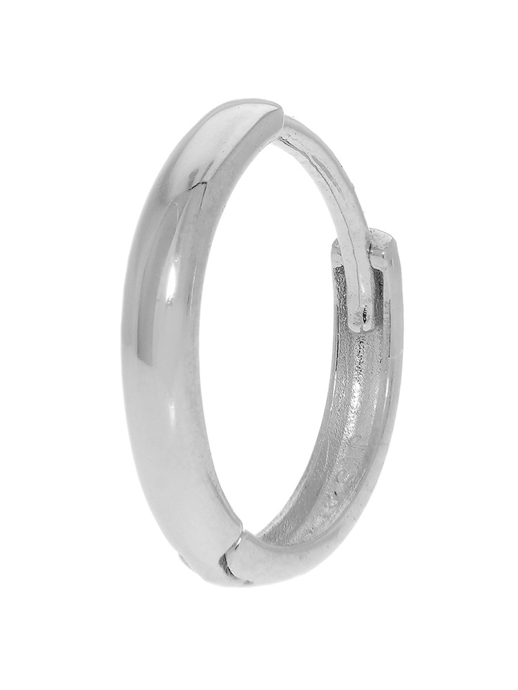 14k White Gold Single Huggie Hoop Mens Hinged Earring 2x13mm