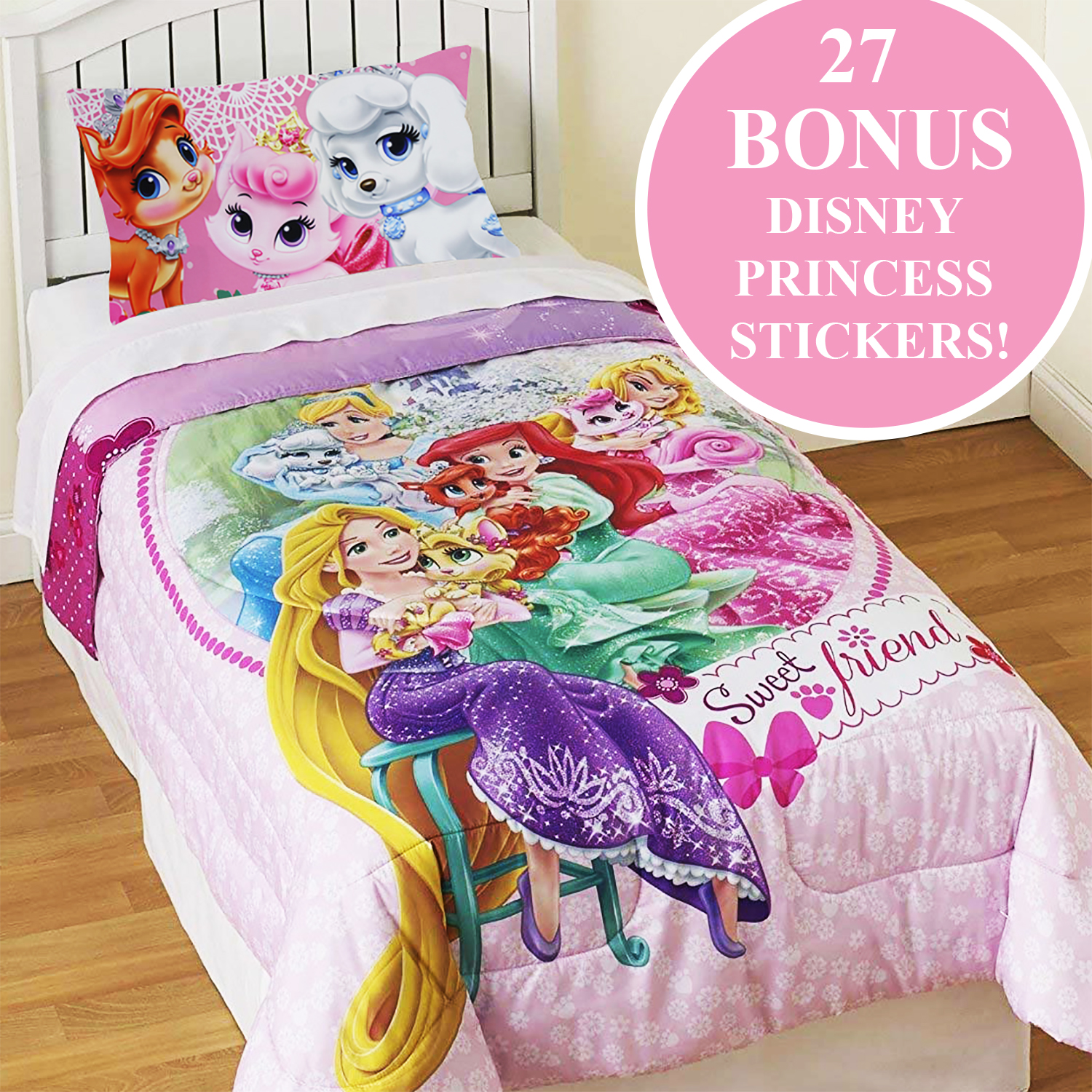 Palace Pets Twin Comforter Set Disney Princesses Sweet Pet Friends Bedding Plus Bonus Wall Stickers
