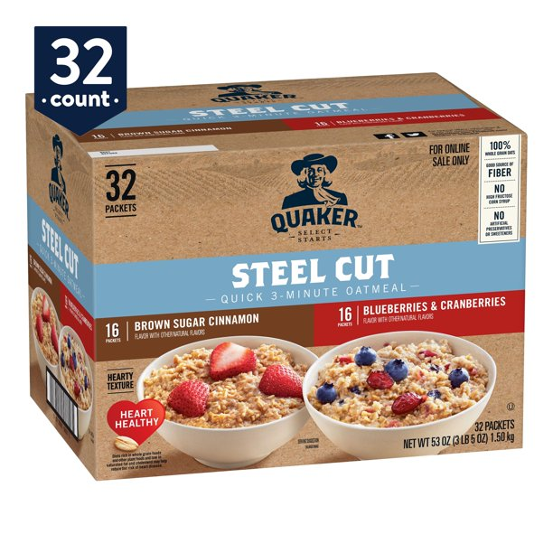 Quaker, Steel Cut Quick 3-Minute Oatmeal, Variety Pack, 32 Packets (16 Brown Sugar Cinnamon, 16 Blueberries & Cranberries)