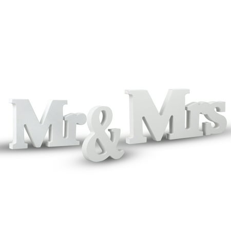 TSV Vintage Style Mr and Mrs Sign Mr & Mrs Wooden Letters Wedding Sign with Silver Glitter for Christmas Decorations, Wedding Table, Photo Props, Party Table, Top Dinner Decoration