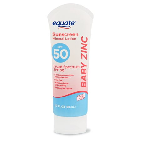 (2 pack) Equate Baby Zinc Sunscreen Mineral Lotion, SPF 50, 3 fl (Equate Clear Zinc Oxide Sunscreen Cream Spf 50)