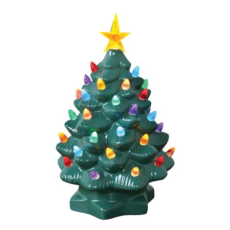 Nostalgic Ceramic Christmas Tree Led Lighted Mini Tree 10 Tall