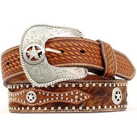 Nocona Western Belt Mens Leather Hair Star Concho Brown (Nocona Concho)