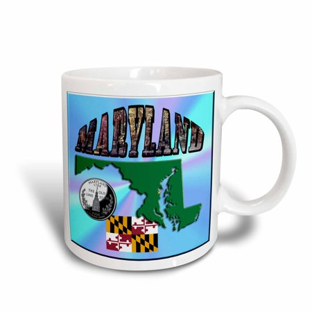 - 3dRose State Map, Flag, Quarter and Picture Text of Maryland, Ceramic Mug, 11-ounce