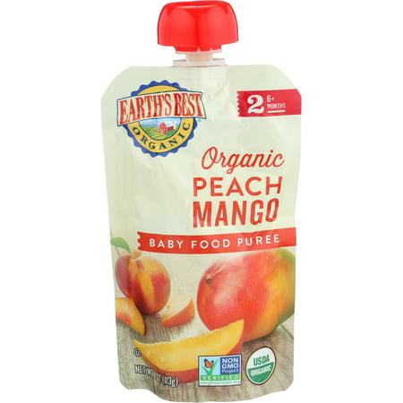 Earth's Best Organic Stage 2, Peach Mango Puree, 4 Ounce