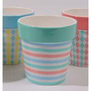 Northlight Seasonal Capri Boulevard Pastel Striped Earthenware Pot Planter