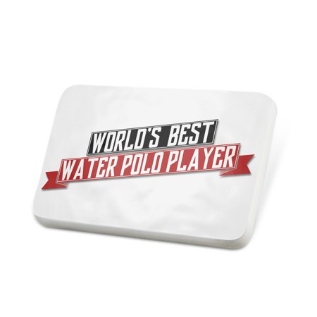 Porcelein Pin Worlds Best Water Polo Player Lapel Badge – (Best Water Polo Player)