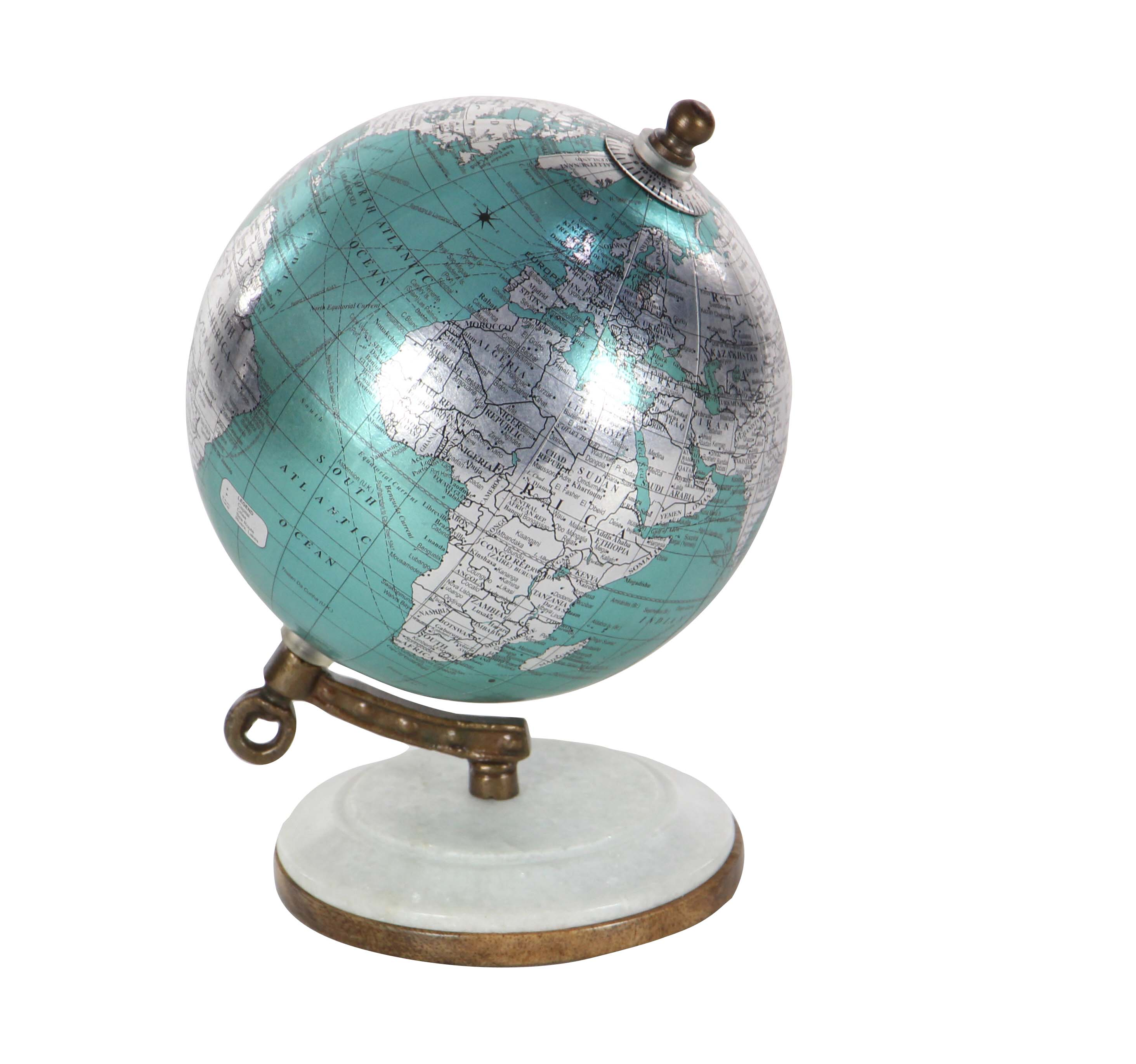Decmode Contemporary 7 inch cyan marble and resin globe, Cyan, Silver