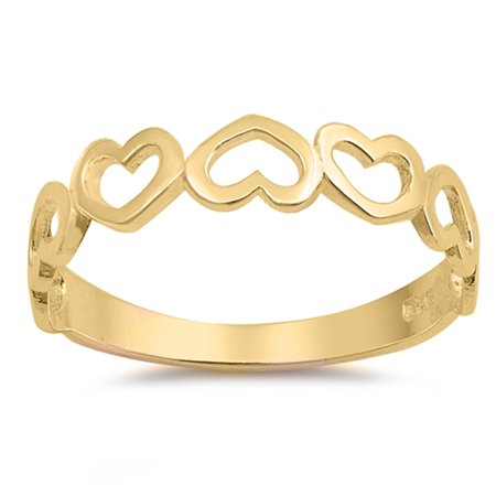 CHOOSE YOUR COLOR Gold-Tone Heart Cute Love Promise Ring New .925 Sterling Silver (925 Silver Fancy Ring Setting)
