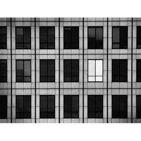Single Light Window (Single Lighted Window in Skyscraper Print Wall Art)