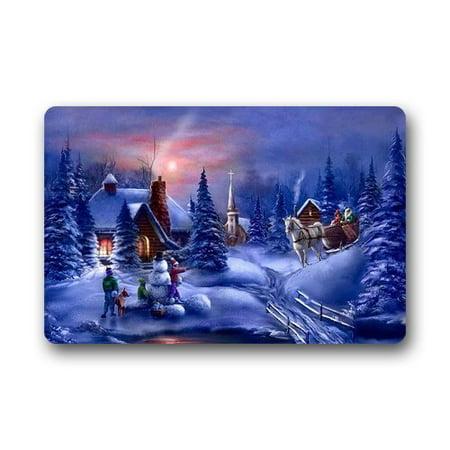 WinHome Christmas Winter Snow Tree House Snowman Doormat Floor Mats Rugs Outdoors/Indoor Doormat Size 30x18 -