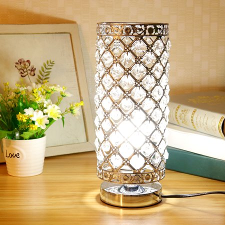 Moaere Crystal Table Lamp Nightstand Decorative Elegant Desk Lamp Modern Night Light Eye-caring LED Lamp for Bedroom Living Room Kitchen Dining (Elegant Bedroom)