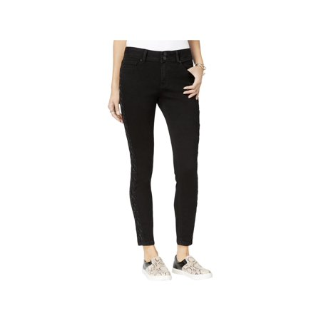 Indigo Rein Womens Juniors Skinny Lace-Up Ankle Jeans Black (Black Womens Jeans)