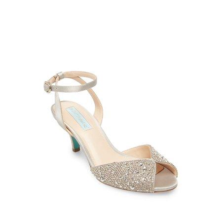 Royal Embellished Satin Ankle-Strap Sandals