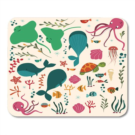 KDAGR Collection of Colorful Sea and Ocean Whale Octopus Stingray Jellyfish Turtle Coral Mousepad Mouse Pad Mouse Mat 9x10 inch (Stingray Mouse Pad)