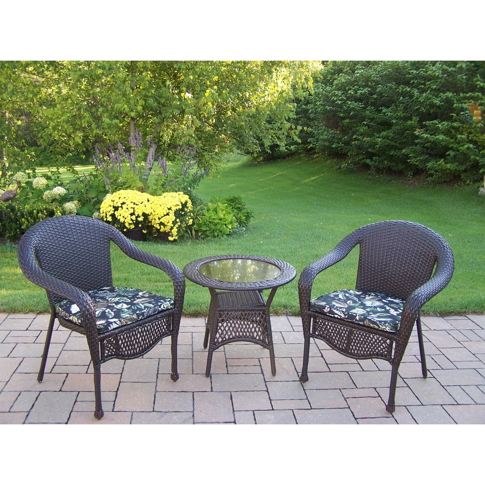 Oakland Living Elite All-Weather Wicker Patio Bistro Set