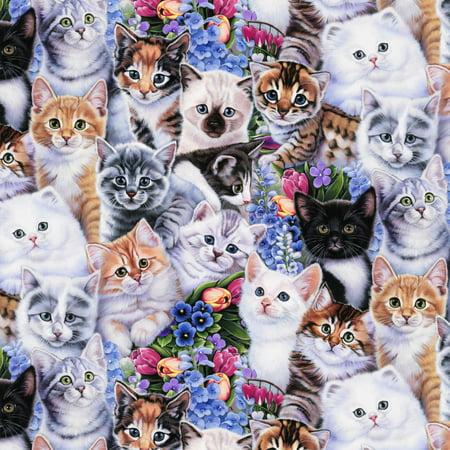 David Textiles Anti-pill Fleece Fabric Spring Kittens & Flowers 60 Inches