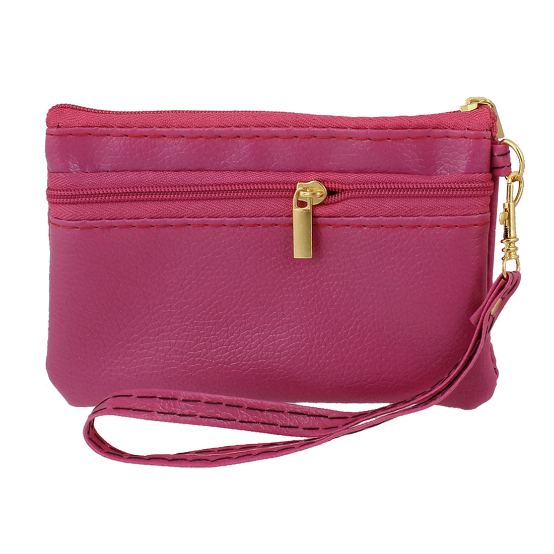 Unique Bargains Fuchsia Faux Leather Zipper Closure 2 Compartment Wallet Cell Phone Bag Holder