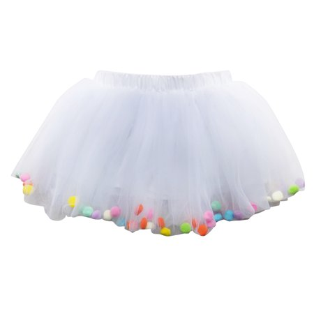 So Sydney Toddler Kids Size POM POM Tutu Skirt Birthday Costume Dress up