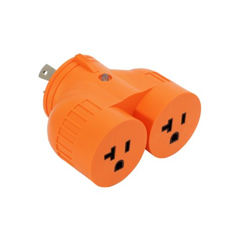 - AC WORKS [ADVL530520] Generator One to Two V Outlet Adapter NEMA L5-30P 30Amp 3Prong Loking Plug to (2) 15/20Amp Household Connectors -