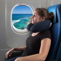 Memory Foam Travel Pillow- With Gel That Cools for Head/Neck Support with Pillowcase for Sleeping, Traveling, Airplanes, Trains by (Navy)