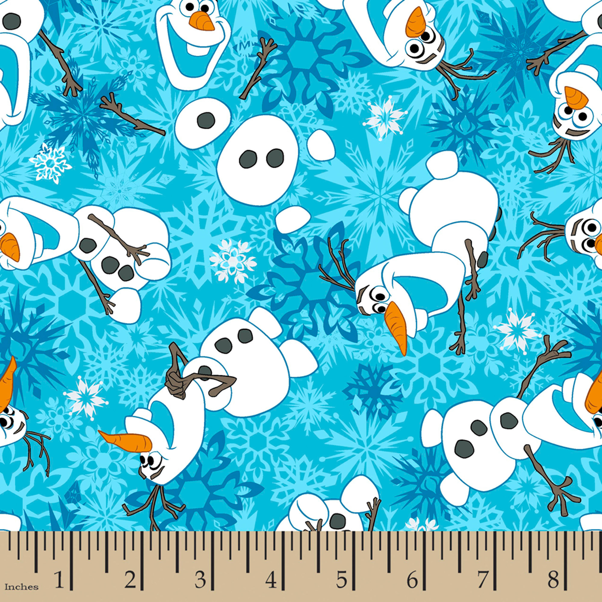 "Disney Frozen Olaf Winter Snowflakes, Flannel, Blue, 42/43"" Wide, Fabric By The Yard"