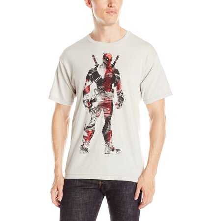Deadpool (Marvel Comics) Mens T-Shirt - Brushstroke Textured Standing Image (Large, Silver)