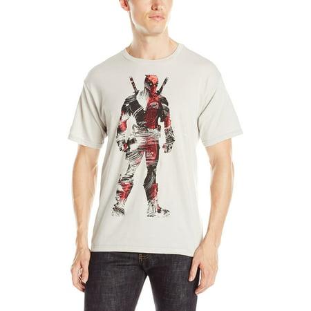 Turquoise Silver Mens Bracelets - Deadpool (Marvel Comics) Mens T-Shirt - Brushstroke Textured Standing Image (Large, Silver)