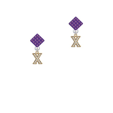 Gold Tone Small Crystal Initial - X - Purple Crystal Diamond-Shape Earrings Gold Tone Purple Crystal