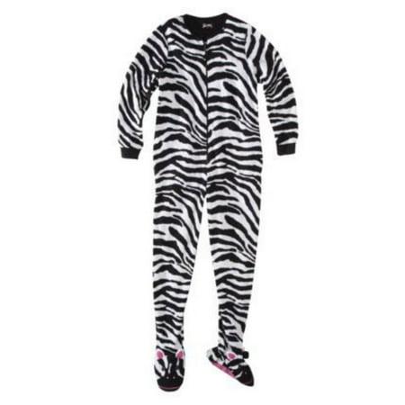 2bad81d7b2dd Nick   Nora - Nick   Nora Womens Black Fleece Zebra Footie PJ ...