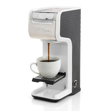 LIVEDITOR 2 In 1 Single Serve Coffee Maker Brewer, Ground & K-Cup Pods, Slim Design, White - image 3 de 6