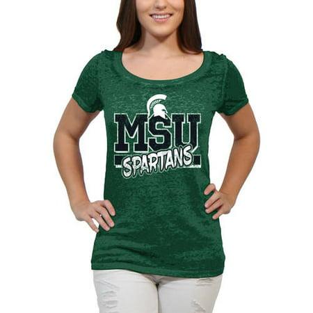 Stroker Short Block - Michigan State Spartans Block Graffiti Women'S/Juniors Team Short Sleeve Scoop Neck Tee Shirt