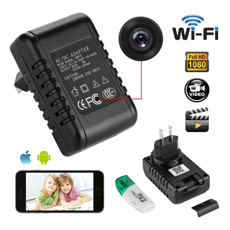 (AGPtek HD 1080P WIFI Mini SPY Motion Hidden Wall Charger IP Camera US Adapter Plug Cam)