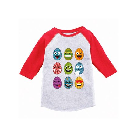 Awkward Styles Easter Eggs Emoji Toddler Raglan Easter 3/4 Sleeve Shirt for Toddler Kids Easter Outfit for Toddler Girls Easter Shirt for Toddler Boys Easter Egg Jersey Shirt Easter Gifts for Kids (Jersey Outlets)