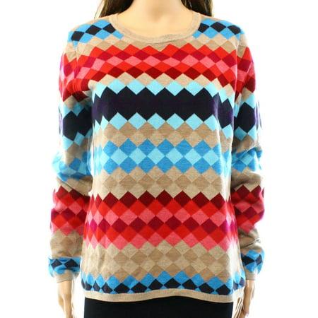Talbots New Beige Womens Size Small S Geo Print Crewneck Sweater