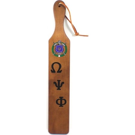Omega Psi Phi Branded Letters Traditional Paddle  Brown   22X3 5