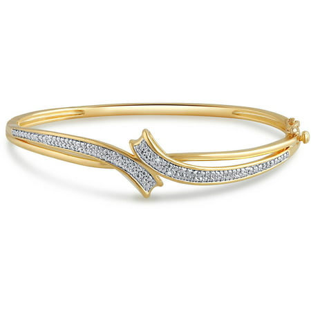 Diamond Accent 14kt Yellow Gold Over Brass Fashion Bangle