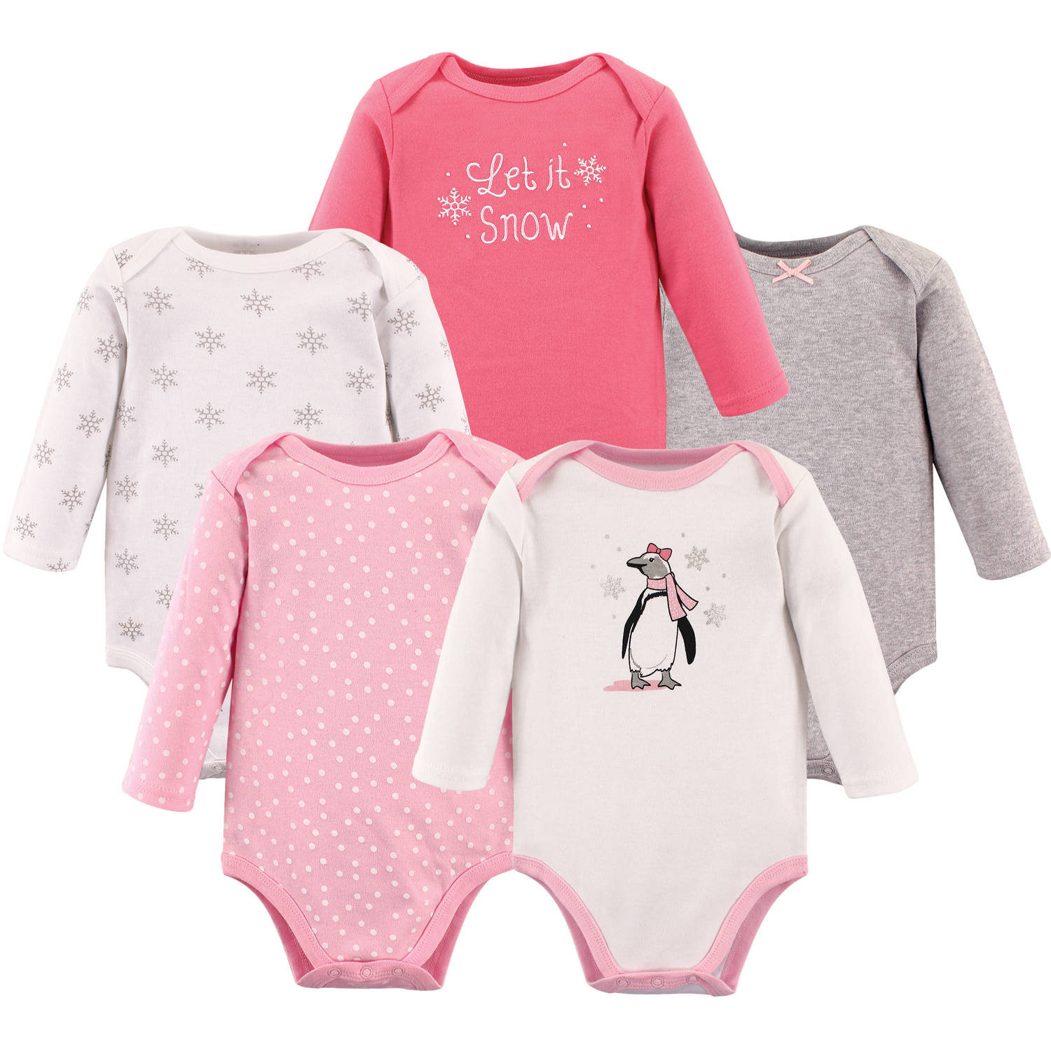 Hudson Baby Girl Long Sleeve Bodysuit, 5-Pack
