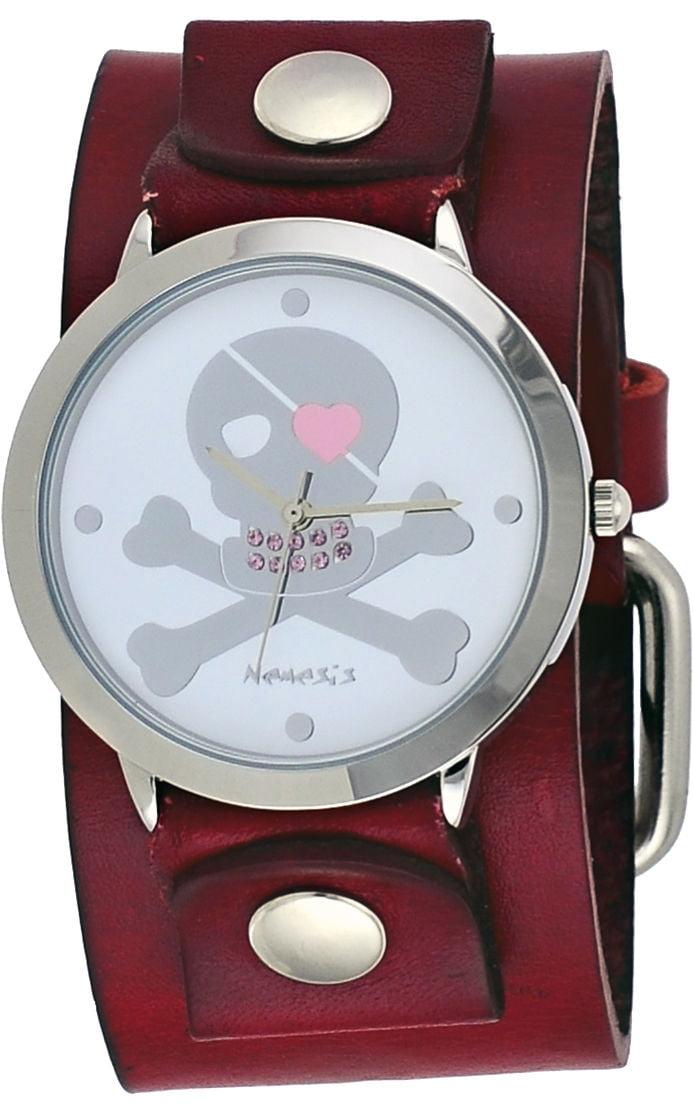 Nemesis GBR821S Women's Skeleton Cross Bone Pink Teeth Red Wide Cuff Band Watch by