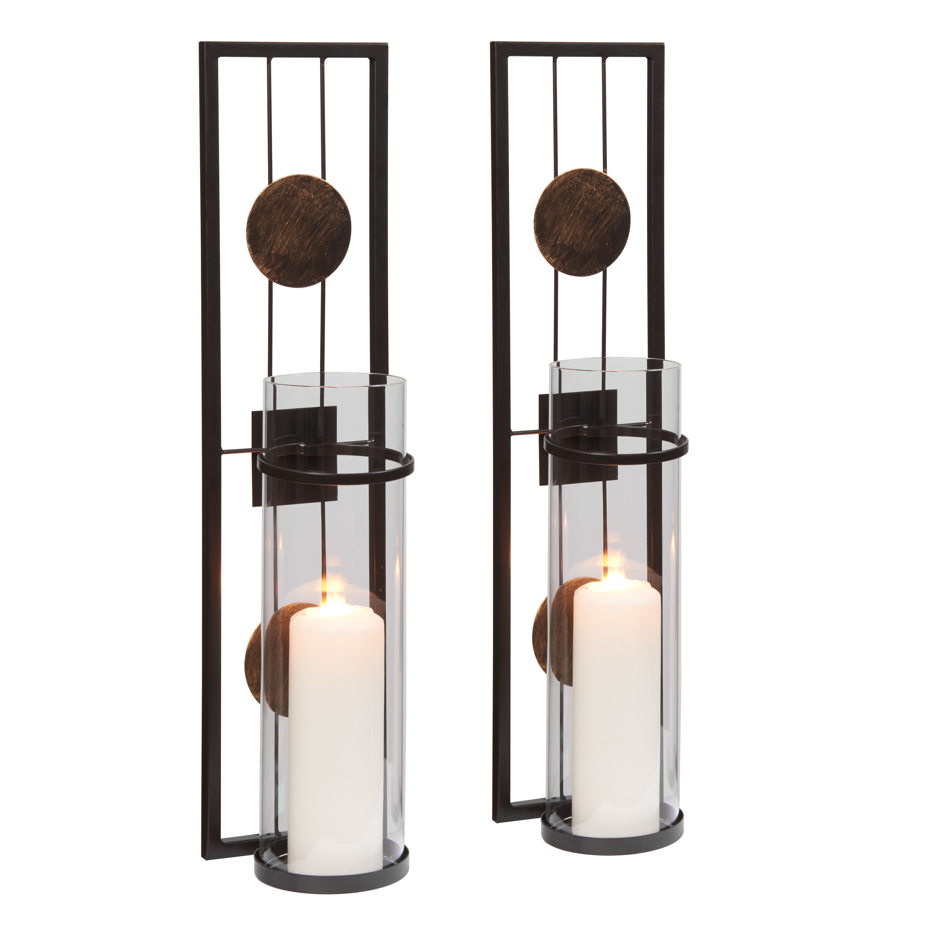 Danya B. 20 in. Modern Floating Decorative Metal Medallion Pillar Candle Sconces – Wall Mount – Set of 2