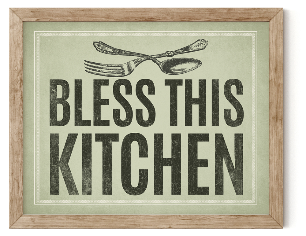 Bless This Kitchen Canvas Wall Art
