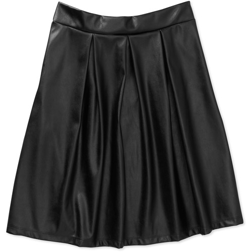 Stitch Women's Faux Leather Pleated Skirt