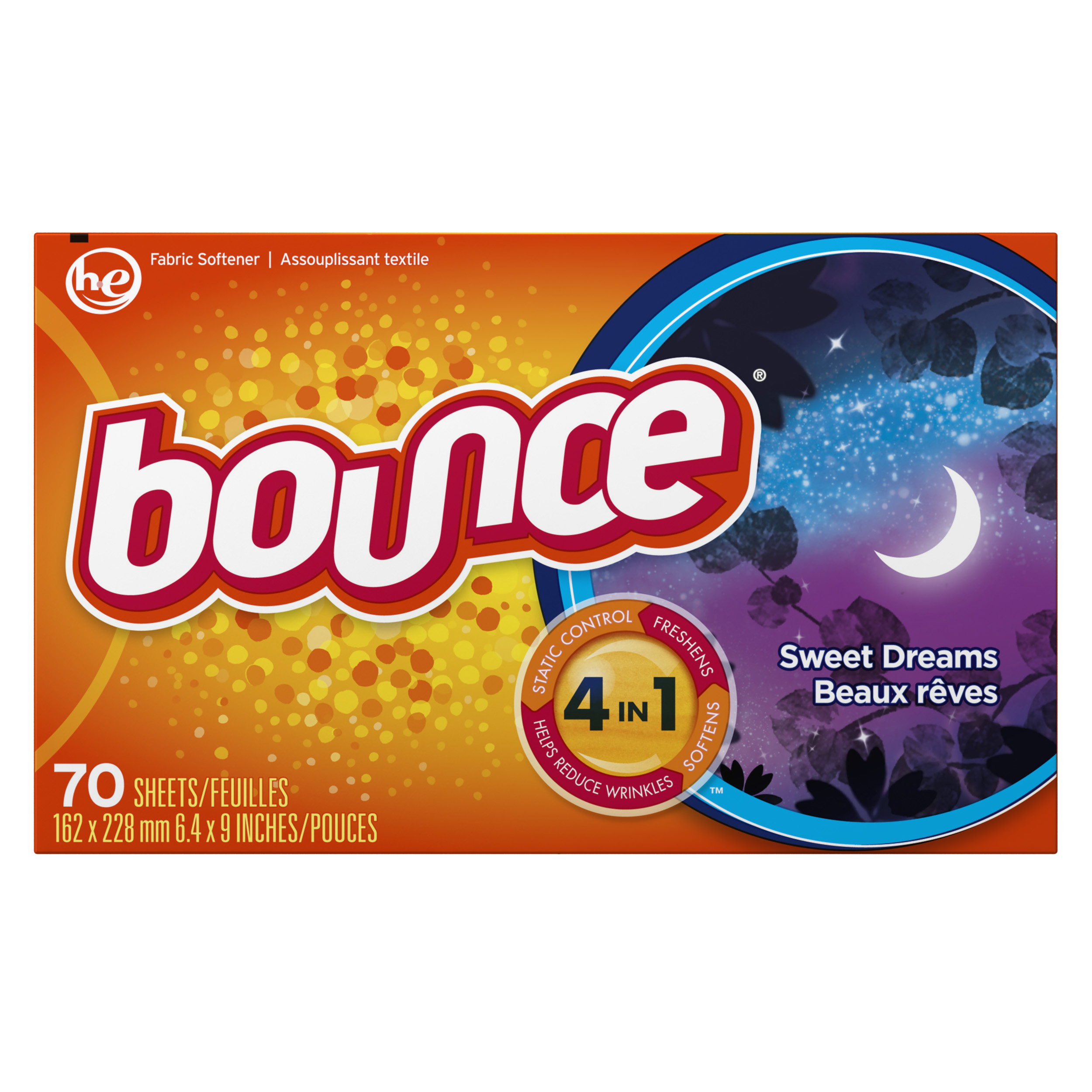 Bounce Sweet Dreams Scented Fabric Softener Dryer Sheets, 70 Count
