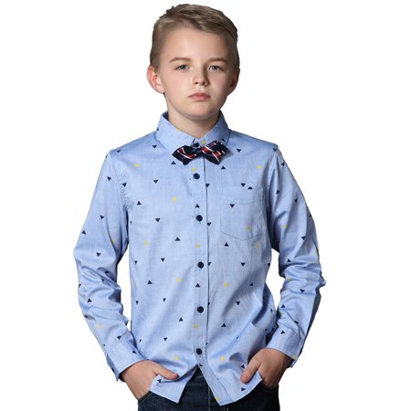Leo&Lily Big Boys'Kids Casual Cotton Poplin Dot Print Woven Shirts