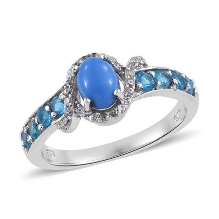 Statement Ring 925 Sterling Silver Platinum Plated Ceruleite Neon Apatite Gift Jewelry for Women