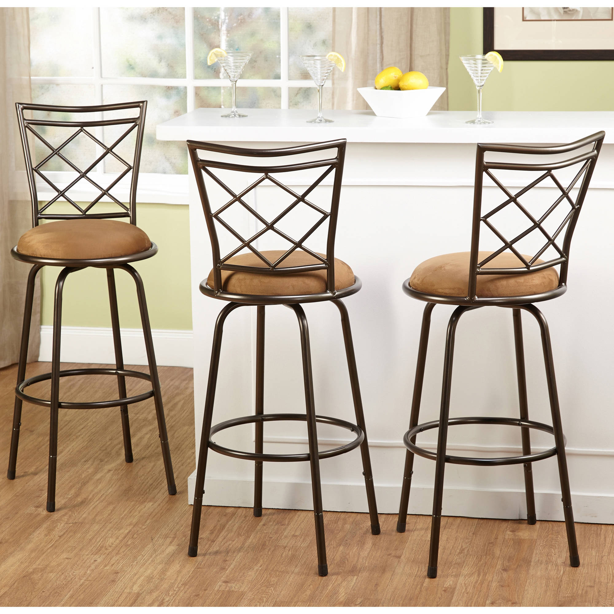 3 Piece Avery Ajustable Height Barstool Multiple Colors Walmart
