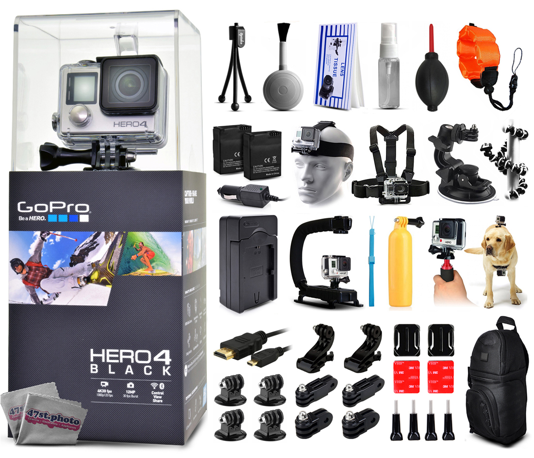 Buy GoPro Hero 4 HERO4 Black Edition CHDHX-401 with Floating Strap + Cleaning Kit + 2 Batteries + Travel Charger + X-Grip... by GoPro